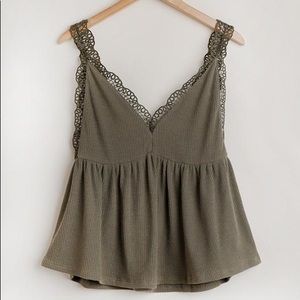 Olive Ribbed Tank Top with Crochet Details
